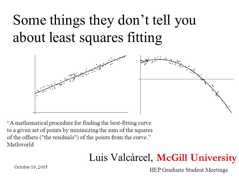 Some things they don't tell you about least squares fitting