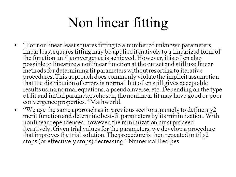 Non linear fitting