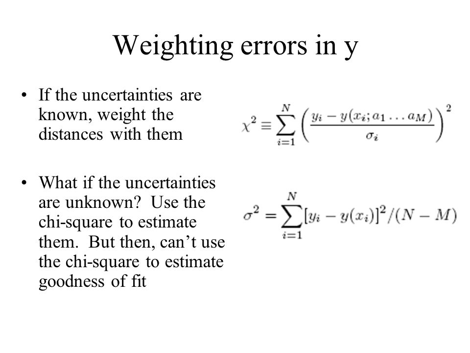 Weighting errors in y If the uncertainties are known, weight the distances with them.
