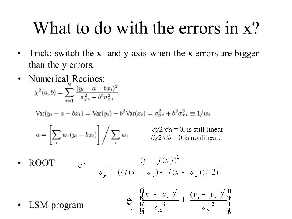 What to do with the errors in x