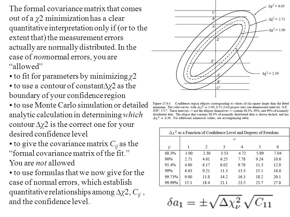 The formal covariance matrix that comes out of a χ2 minimization has a clear quantitative interpretation only if (or to the extent that) the measurement errors actually are normally distributed. In the case of nonnormal errors, you are allowed