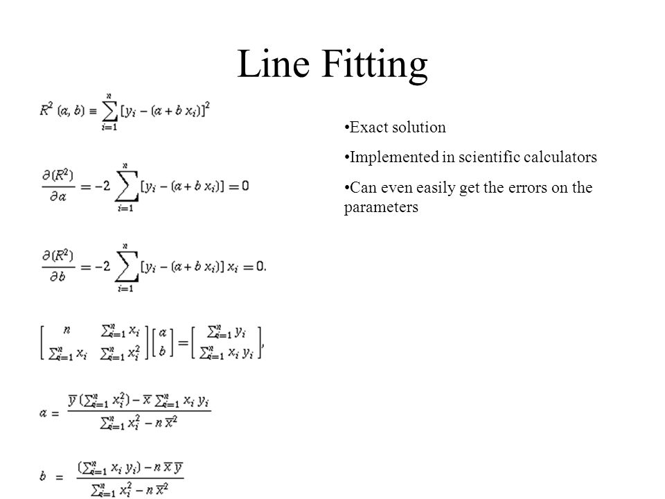 Line Fitting Exact solution Implemented in scientific calculators