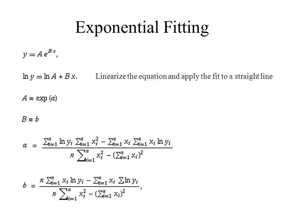 Exponential Fitting Linearize the equation and apply the fit to a straight line