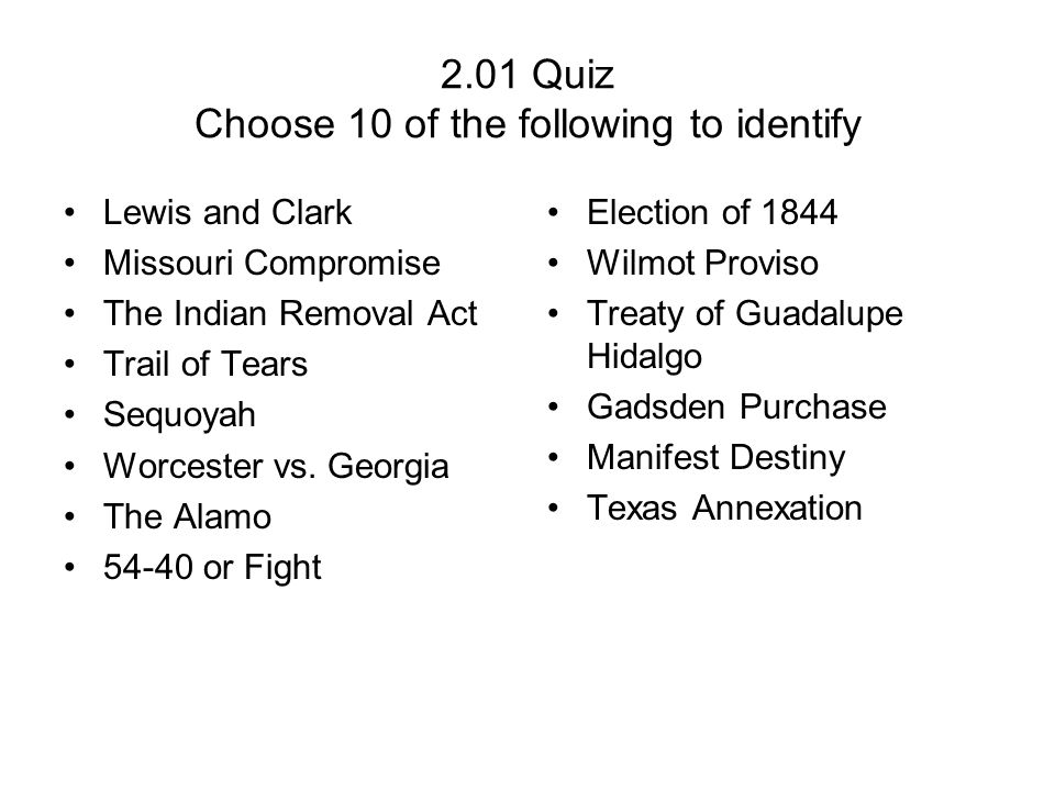 2.01 Quiz Choose 10 of the following to identify