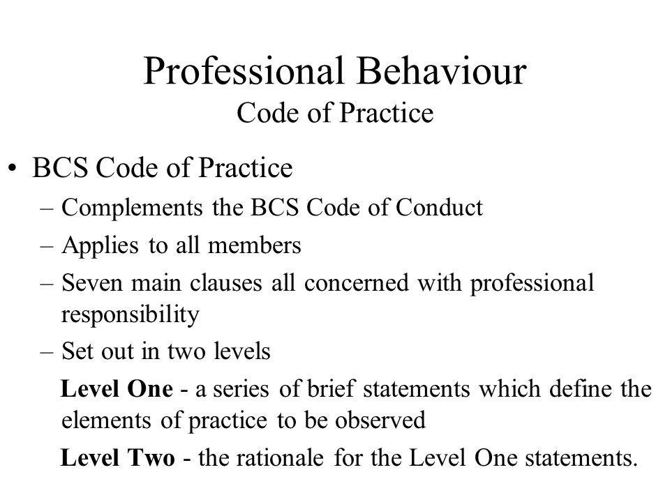 Professional Behaviour Code of Practice