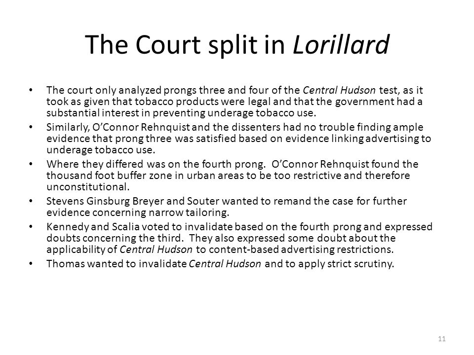 The Court split in Lorillard