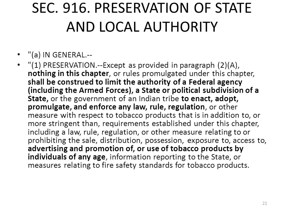 SEC. 916. PRESERVATION OF STATE AND LOCAL AUTHORITY
