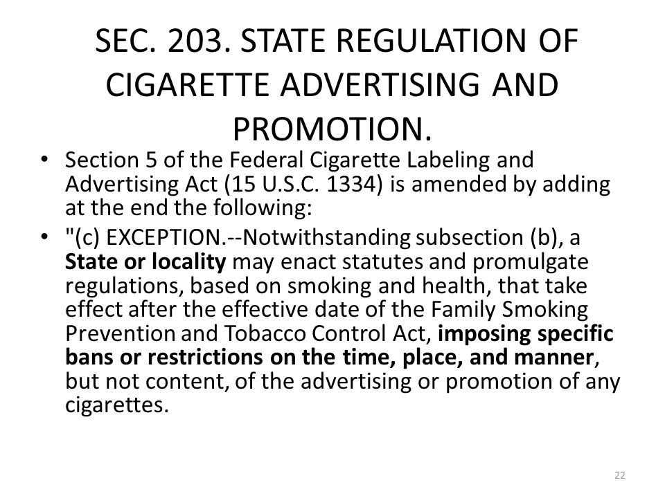 SEC. 203. STATE REGULATION OF CIGARETTE ADVERTISING AND PROMOTION.