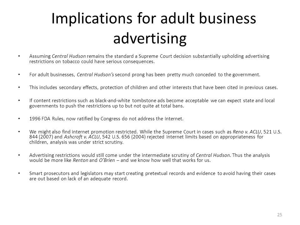Implications for adult business advertising