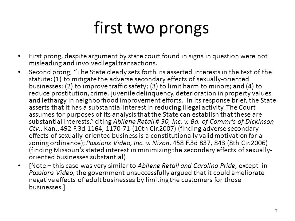 first two prongs First prong, despite argument by state court found in signs in question were not misleading and involved legal transactions.