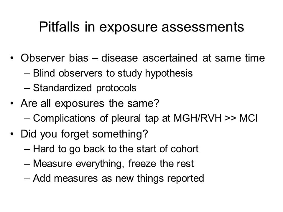 Pitfalls in exposure assessments