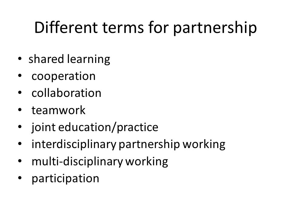 Different terms for partnership