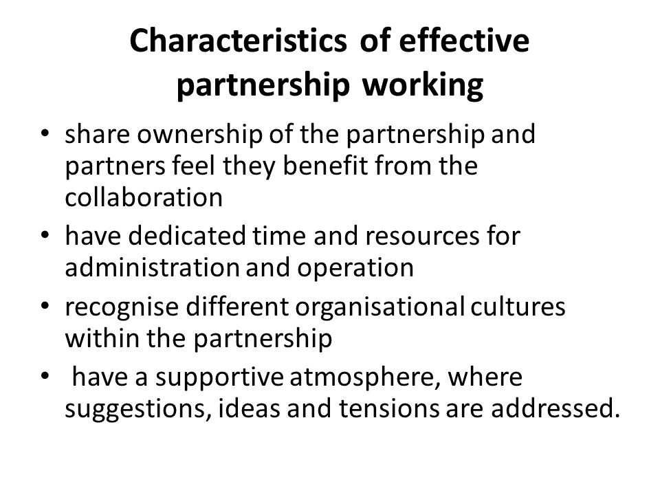 Characteristics of effective partnership working