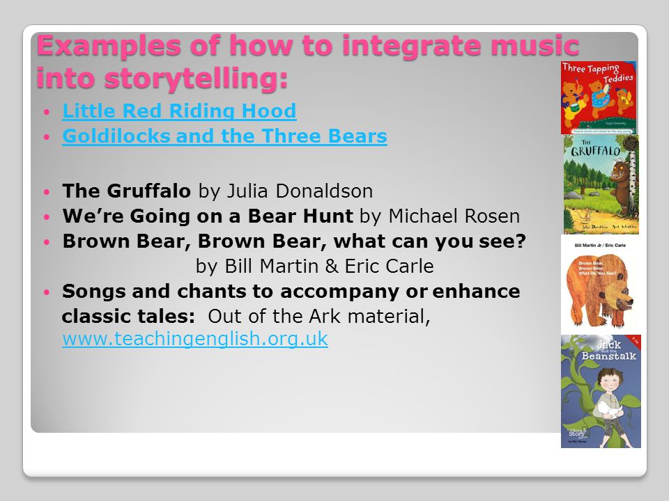 Examples of how to integrate music into storytelling: