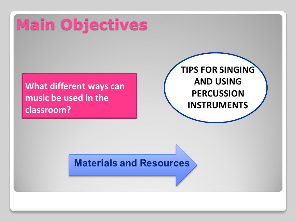TIPS FOR SINGING AND USING PERCUSSION INSTRUMENTS