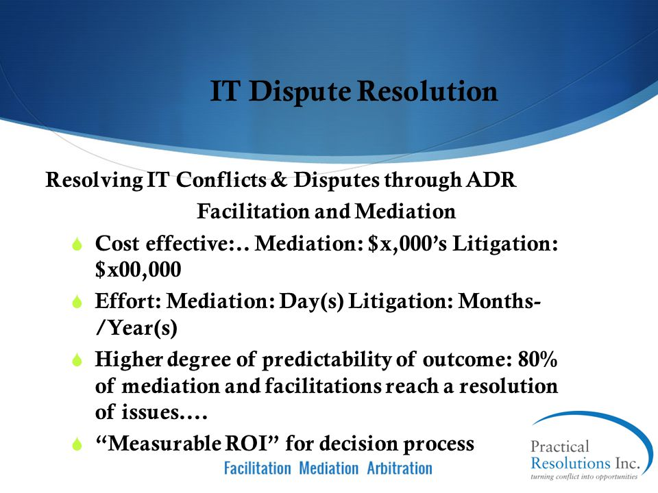 Facilitation and Mediation