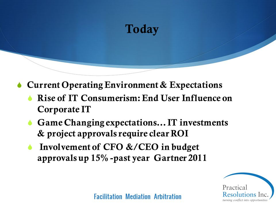 Today Current Operating Environment & Expectations