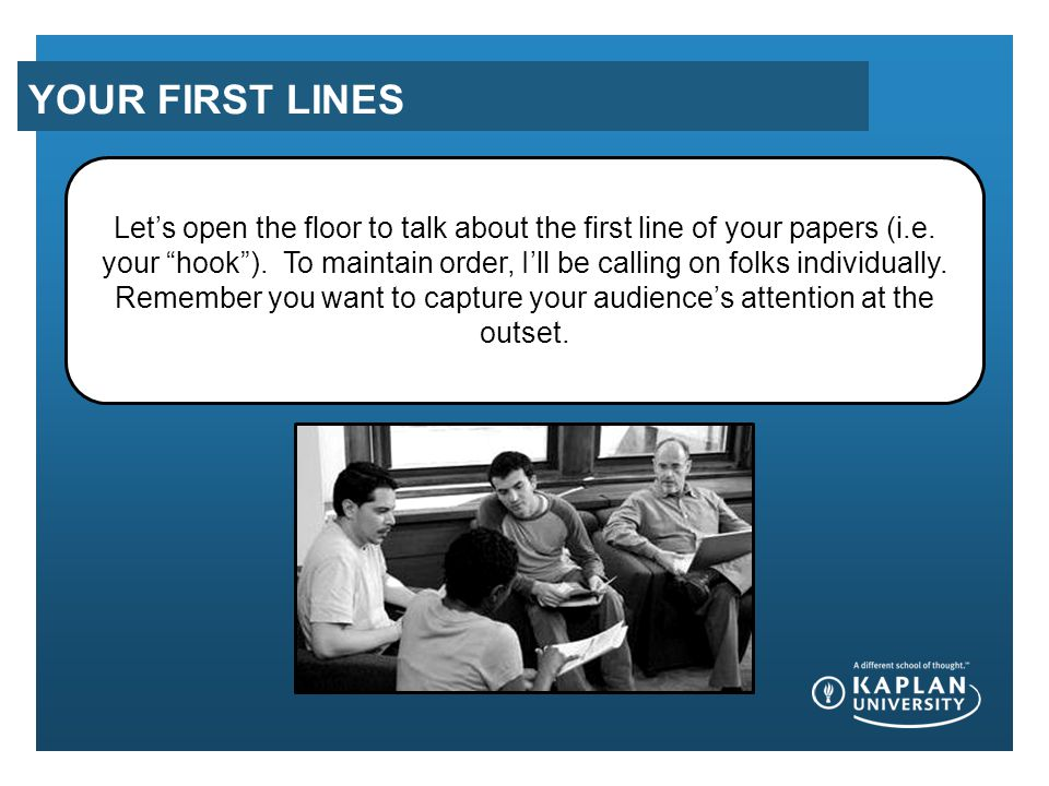YOUR FIRST LINES