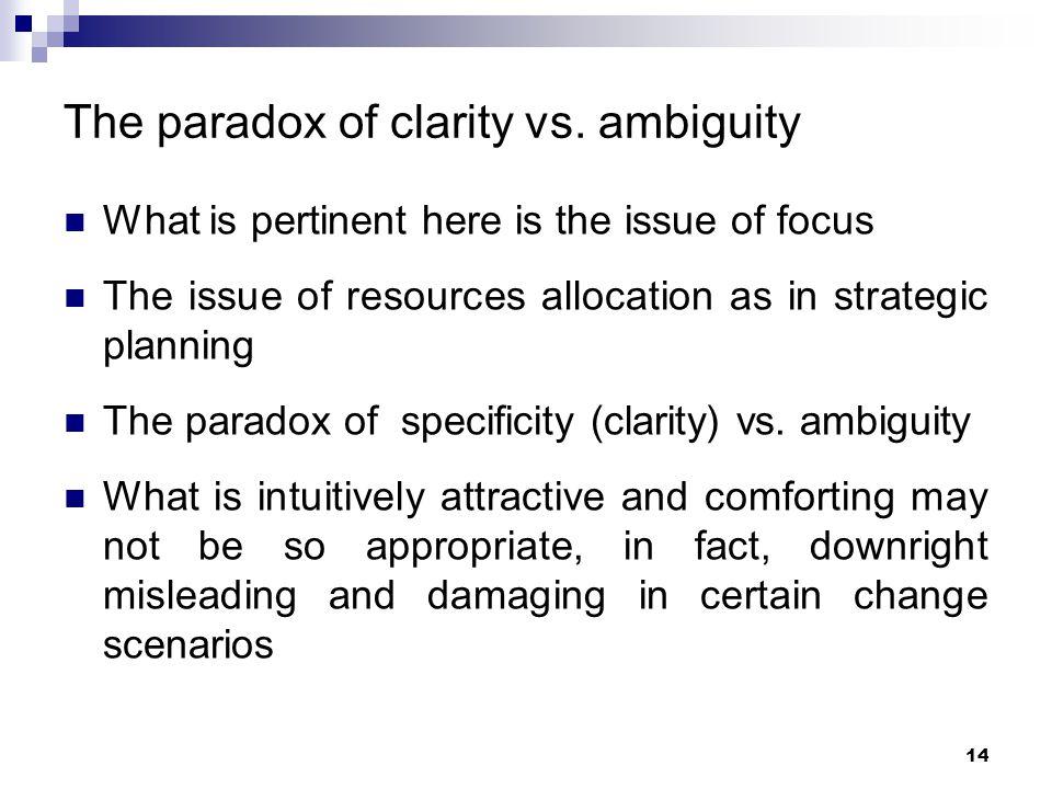 The paradox of clarity vs. ambiguity