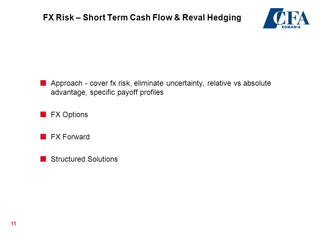 FX Risk – Short Term Cash Flow & Reval Hedging