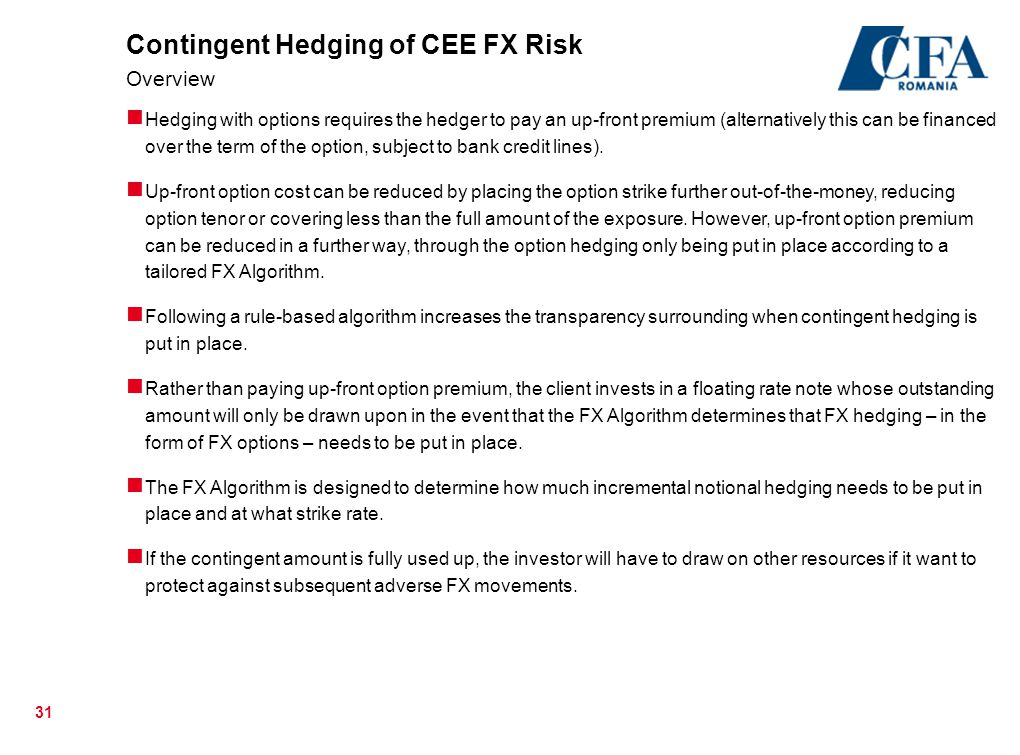 Contingent Hedging of CEE FX Risk Overview