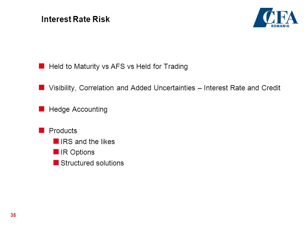 Interest Rate Risk Held to Maturity vs AFS vs Held for Trading