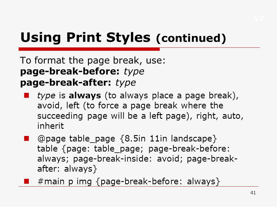 Using Print Styles (continued)
