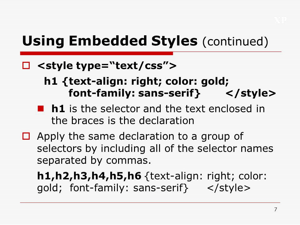 Using Embedded Styles (continued)