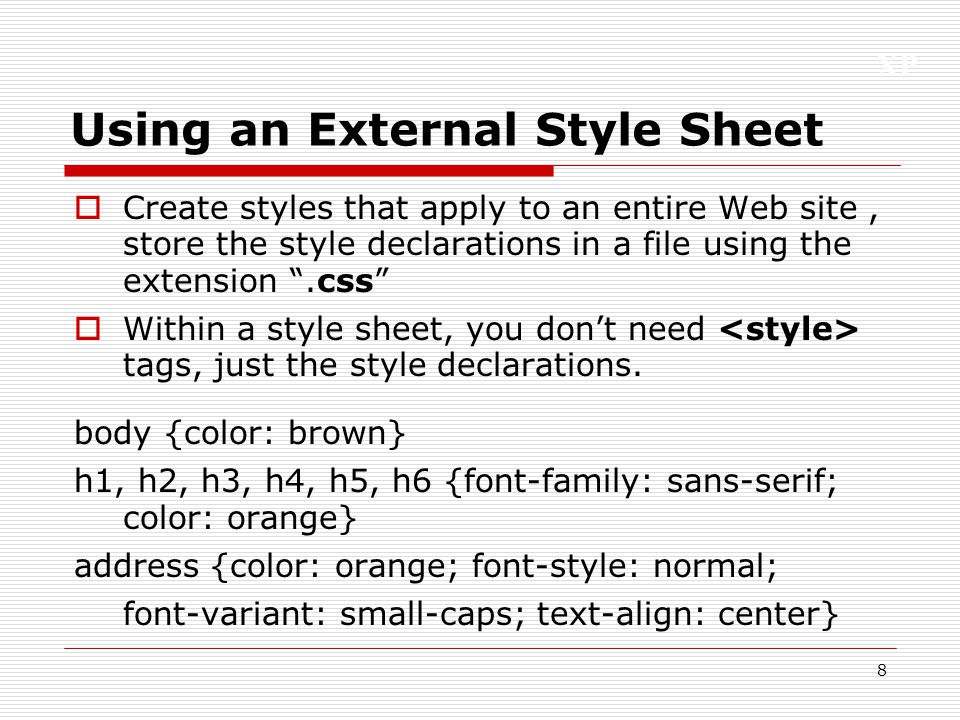 Using an External Style Sheet