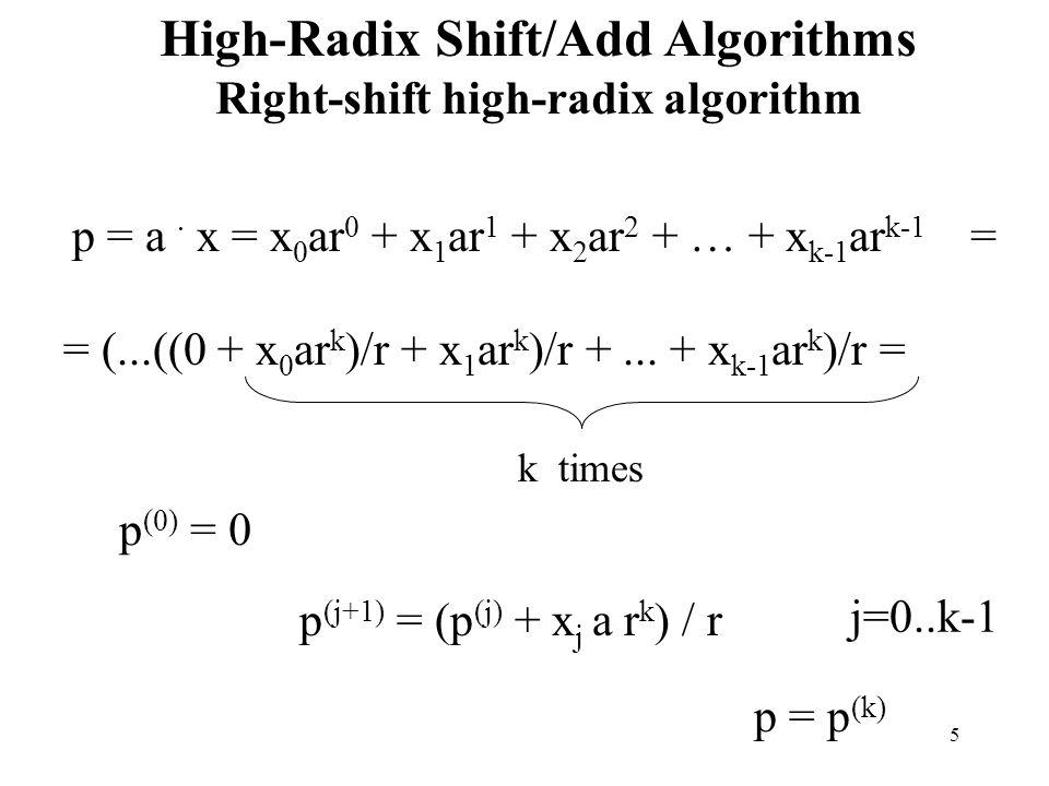 High-Radix Shift/Add Algorithms Right-shift high-radix algorithm