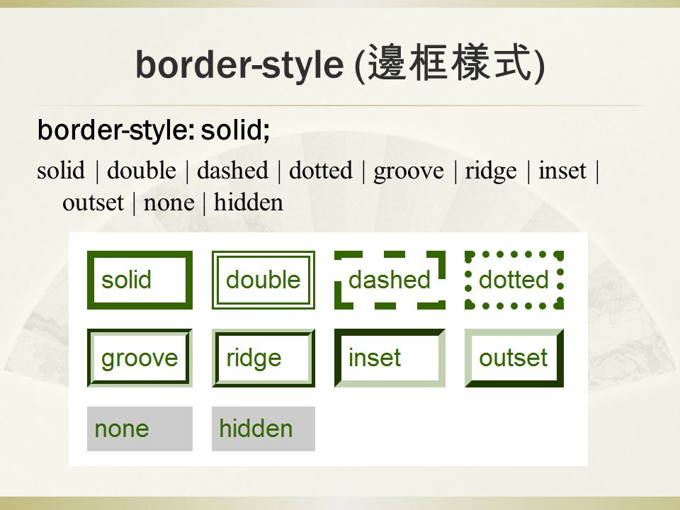 border-style (邊框樣式) border-style: solid;