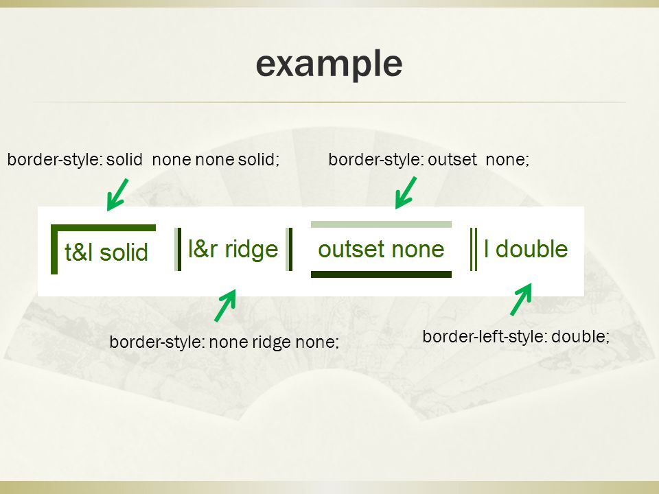 example border-style: solid none none solid;