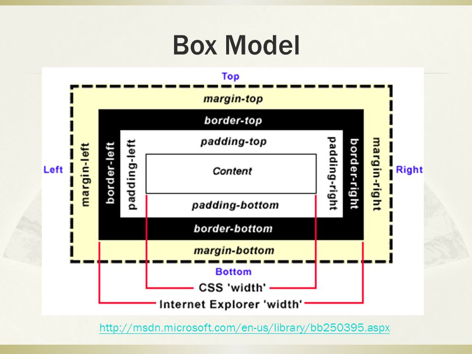 Box Model http://msdn.microsoft.com/en-us/library/bb250395.aspx