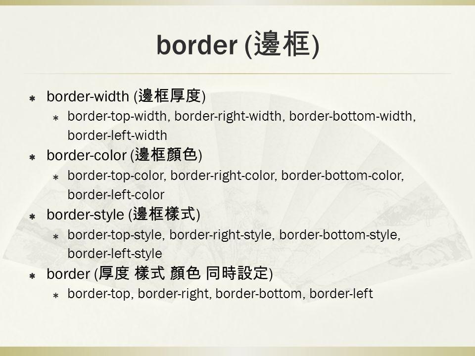 border (邊框) border-width (邊框厚度) border-color (邊框顏色)