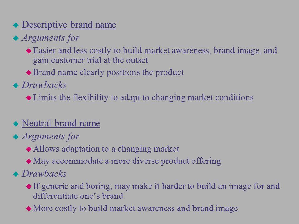 Descriptive brand name Arguments for