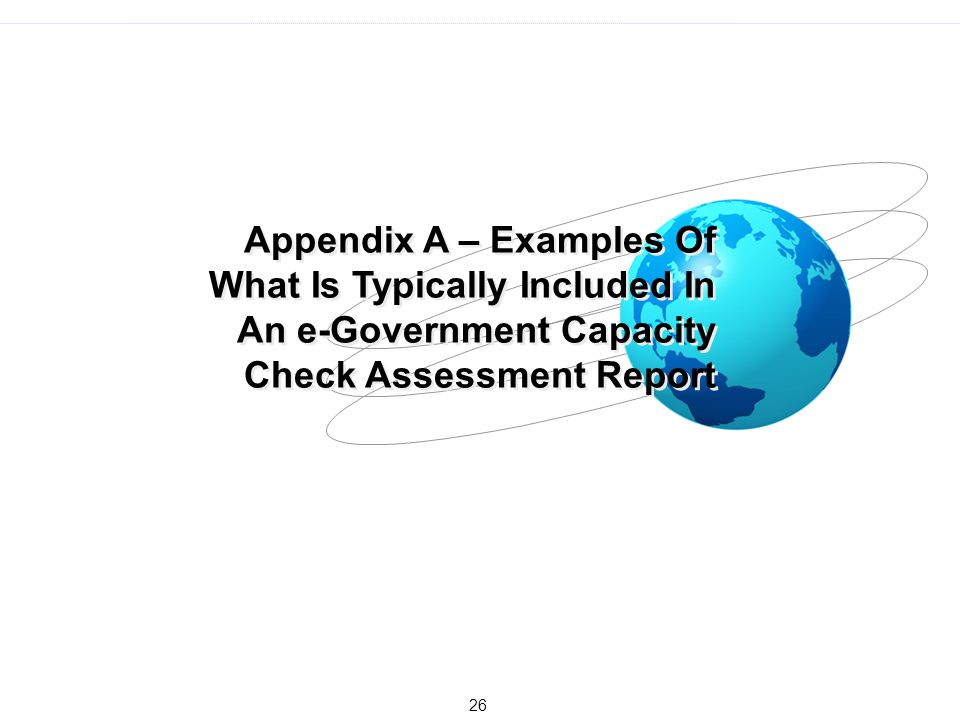 Appendix A – Examples Of What Is Typically Included In An e-Government Capacity Check Assessment Report