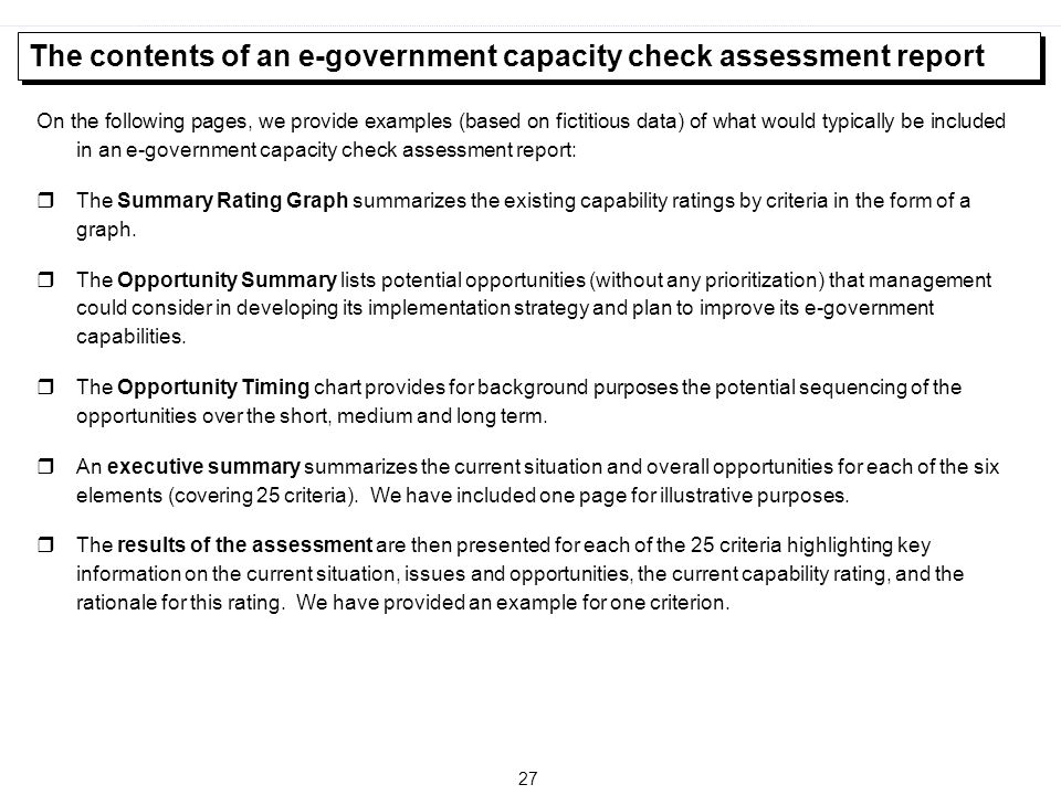The contents of an e-government capacity check assessment report
