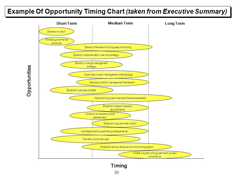 Example Of Opportunity Timing Chart (taken from Executive Summary)