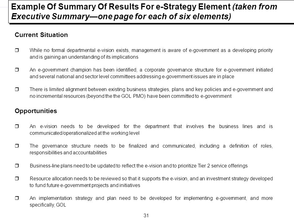 Example Of Summary Of Results For e-Strategy Element (taken from Executive Summary—one page for each of six elements)