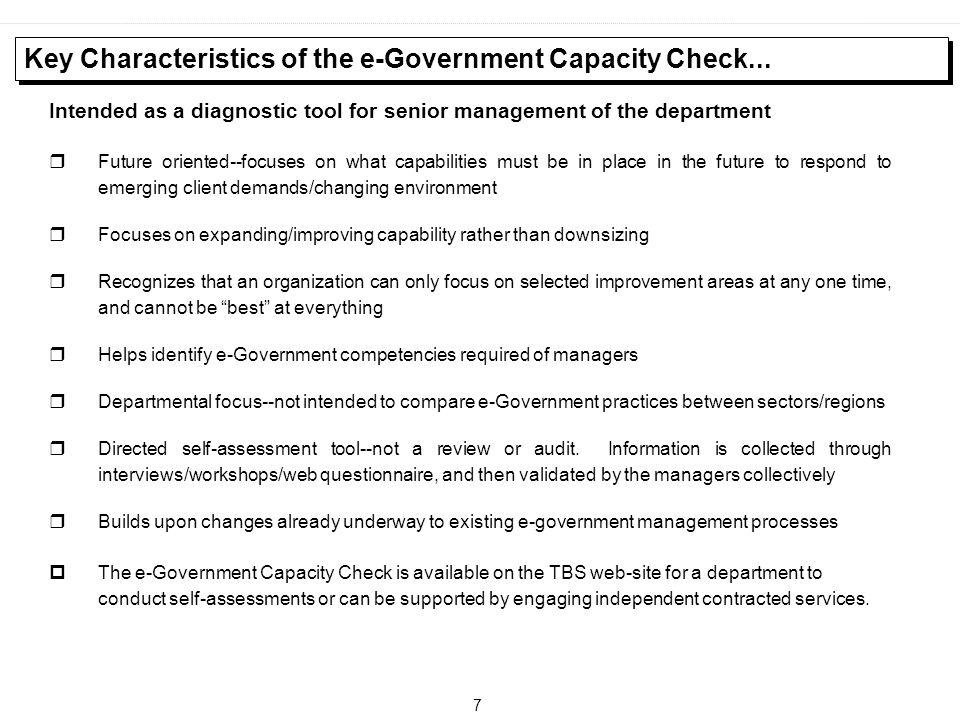 Key Characteristics of the e-Government Capacity Check...