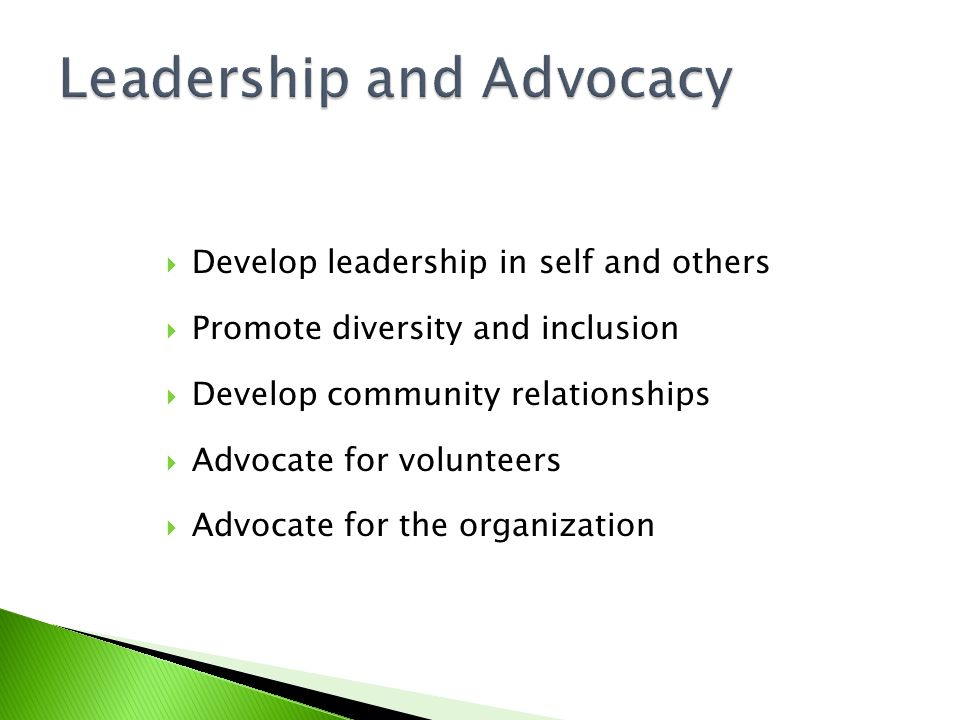 Leadership and Advocacy