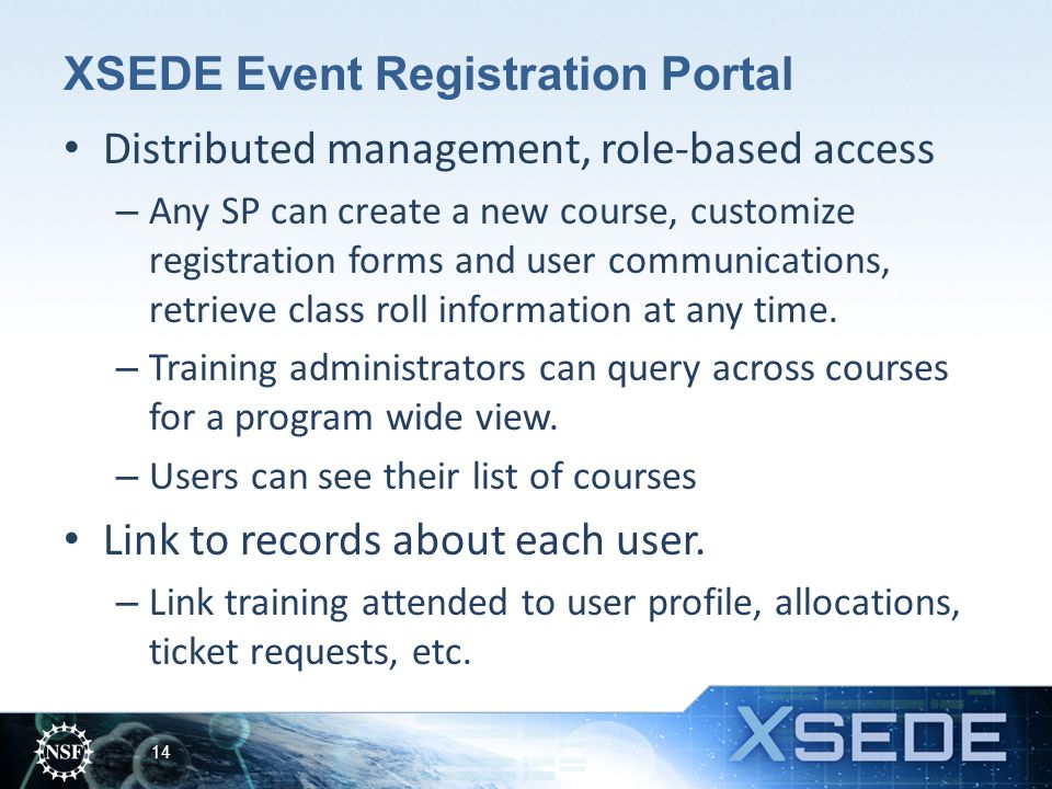 XSEDE Event Registration Portal