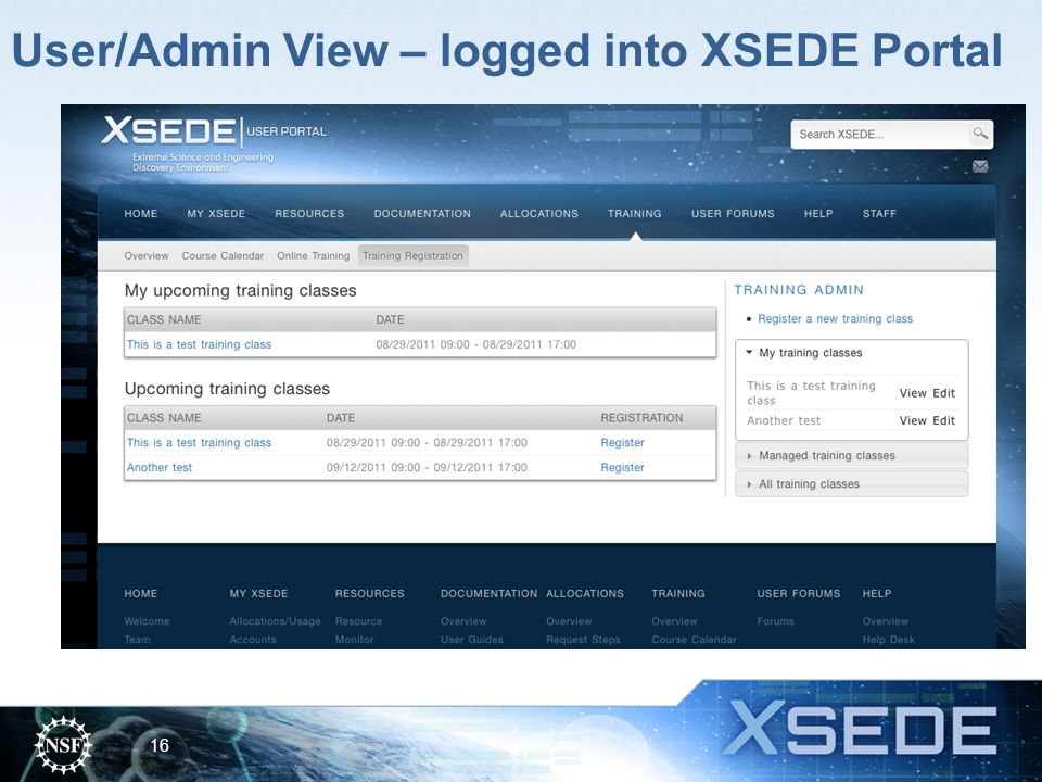 User/Admin View – logged into XSEDE Portal