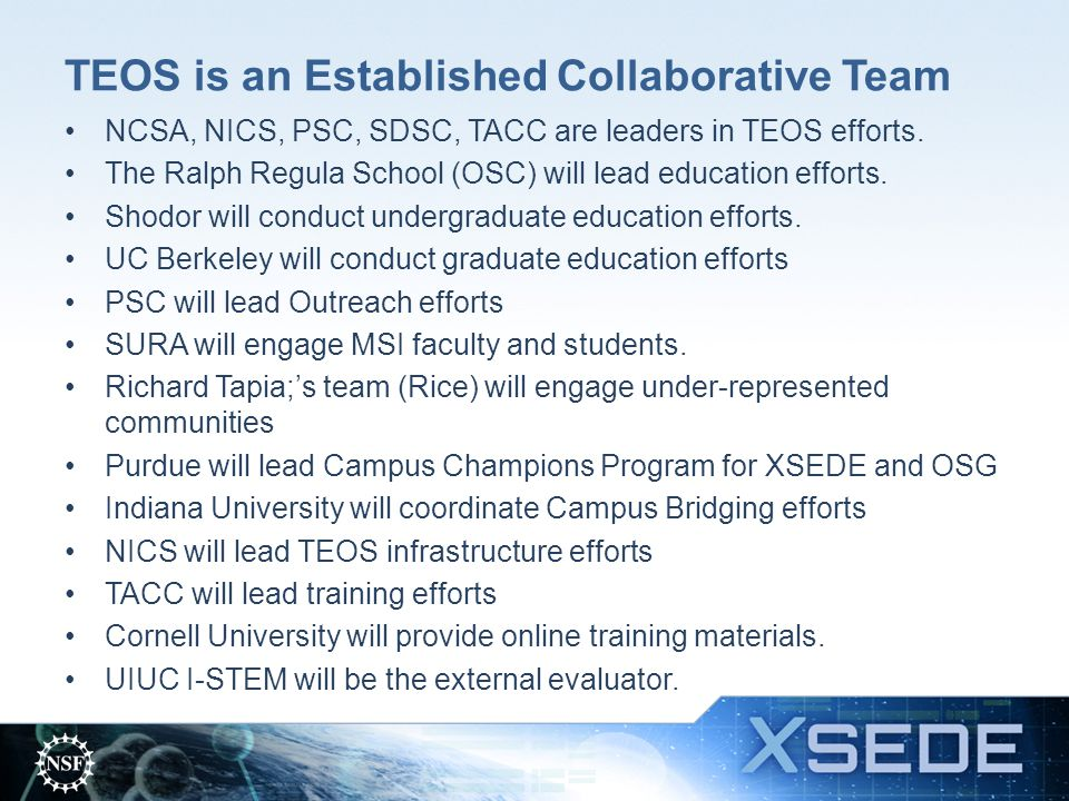 TEOS is an Established Collaborative Team