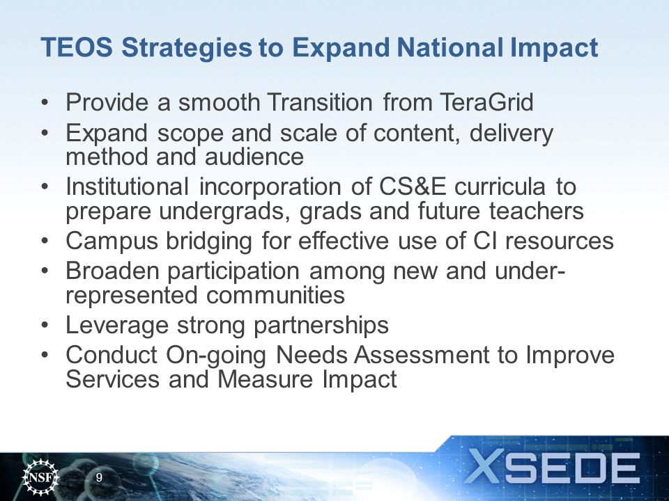 TEOS Strategies to Expand National Impact
