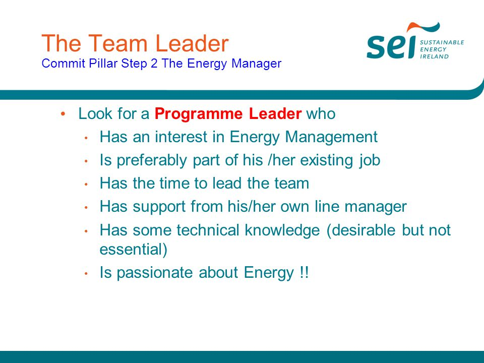 The Team Leader Commit Pillar Step 2 The Energy Manager
