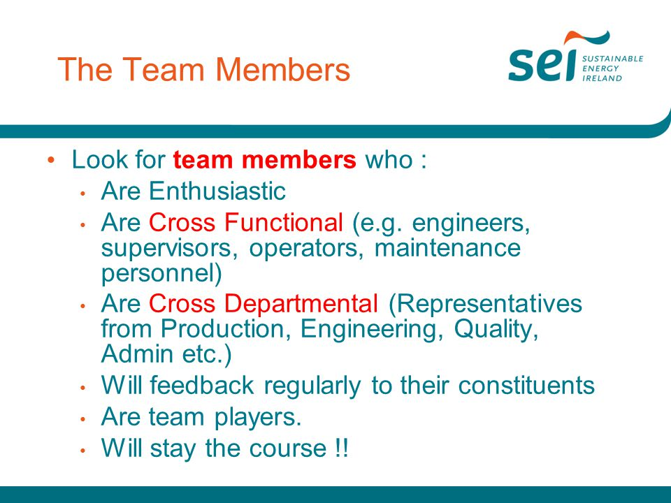 The Team Members Look for team members who : Are Enthusiastic