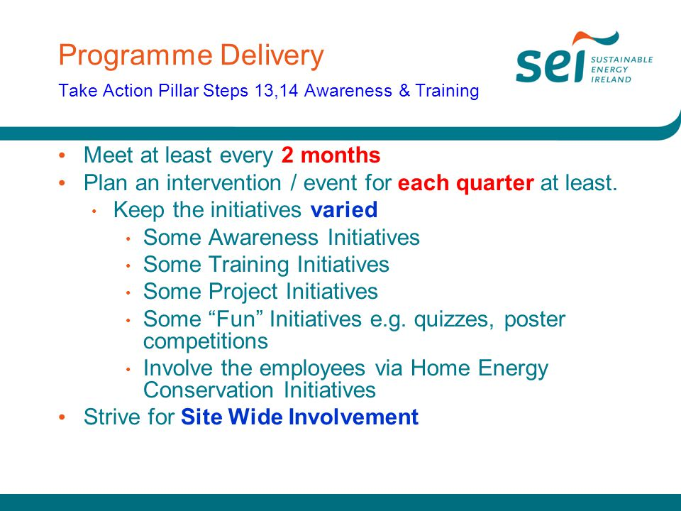 Programme Delivery Take Action Pillar Steps 13,14 Awareness & Training