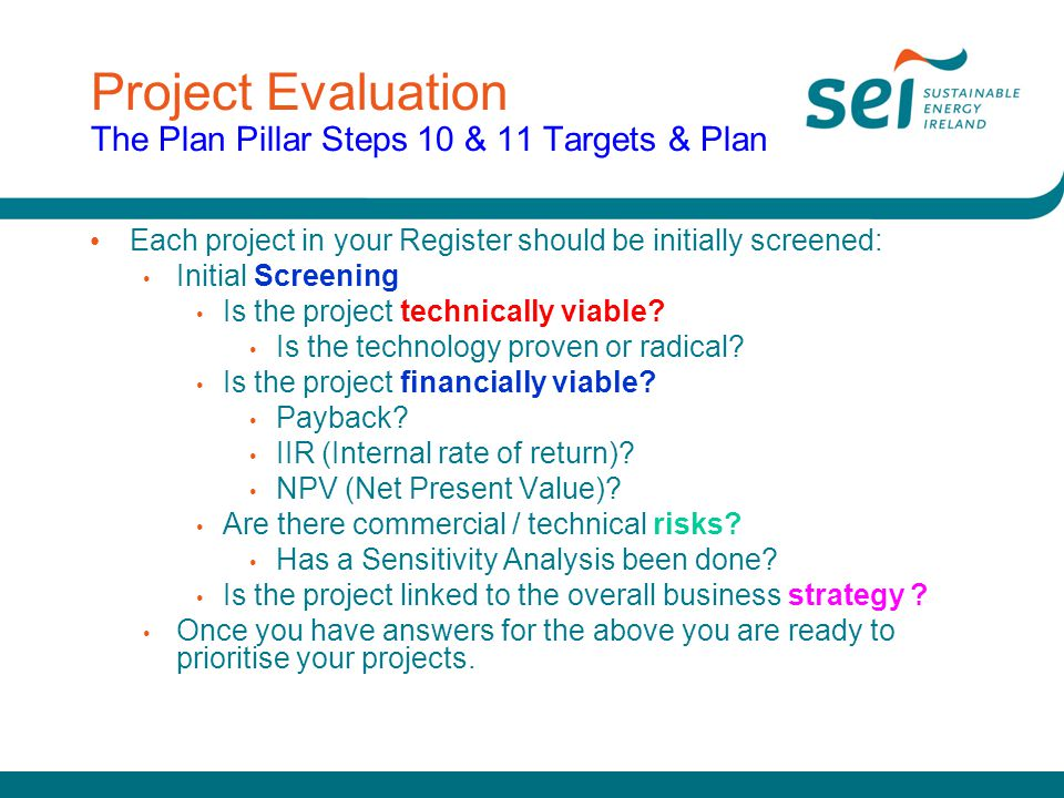 Project Evaluation The Plan Pillar Steps 10 & 11 Targets & Plan
