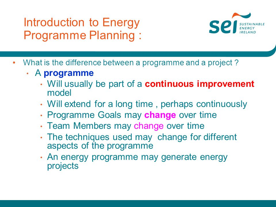 Introduction to Energy Programme Planning :